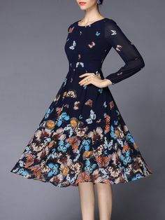 Butterfly Printed Chiffon Midi Dress...  $79.99