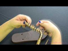 Como fazer um bordado enrolando o fio de seda para prender o fio de strass - Videoaula Sr. Chinelo - YouTube