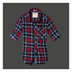 Abercrombie Fitch Women Plaid Shirt Dark Red ❤ liked on Polyvore featuring tops, plaid top, tartan top, abercrombie fitch top, tartan shirt and shirt top