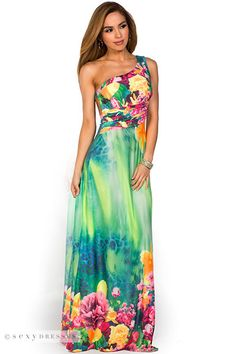 Green and Orange Open Back Tropical Print  Maxi Summer Dress/ really cute