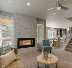Family room with indoor/outdoor fireplace | Family room ...