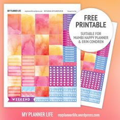 Watercolor planner stickers for ECLP or Happy Planner