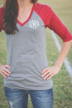 Baseball style 3/4 vneck. Raglan Monogram t-shirt. $19 https://www.etsy.com/listing/206735717/monogrammed-34-v-neck-raglan-t-shirt?ref=shop_home_active_8