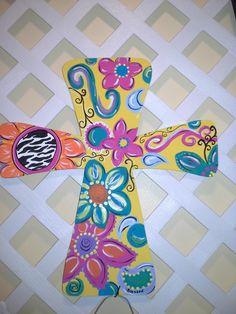 Painted cross Wooden Door Hangers, Wooden Doors, Wooden Signs, Wooden Cross Crafts, Painted Wooden Crosses, Cross Drawing, Collages, Cross Art, Cross Paintings