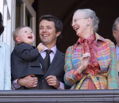 Prince Christian, Crown Prince Frederik and Queen Margrethe of Denmark