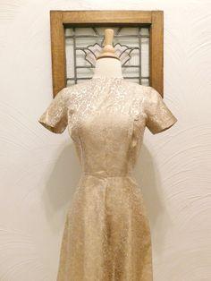 1960s Brocade Dress Vintage 60s Metallic by RedsThreadsVintage