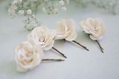 Ivory Rose Bobby Pins 4 pcs by BelleBlooms