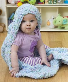 Hooded Baby Blanket. Beginner pattern. Can use as towel if made in a natural absorbent yarn.