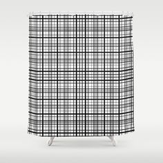 "Stop neglecting bathroom decor - our designer Shower Curtains bring a fresh new feel to an overlooked space. Hookless and extra long, these bathroom curtains feature crisp and colorful prints on the front, with a white reverse side. - One size: 71"" (W) x 74"" (H) - Made in the USA with 100% polyester - 12 buttonhole-top for easy hanging - Machine washable, tumble dry - Rod, curtain liner and hooks not included Custom Shower Curtains, Bathroom Curtains, White Plaid, Black And White, Black Curtains, Plaid Pattern, Hooks, Crisp, Colorful"