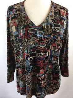 Chicos Travelers Black V Neck Top New York Broadway Size 3 XL Artsy   | eBay