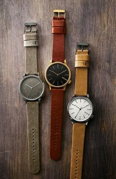 Komono 'Winston Regal' Leather Strap Watch, 42mm