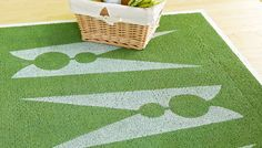 Clothespin rug in laundry room