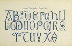 Vintage engraving of the alphabet in an century Anglo Saxon style. Alphabet A, Calligraphy Alphabet, Anglo Saxon Alphabet, Lockwood And Co, Medieval, Letter W, Viking Art, Le Web, Illuminated Manuscript