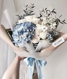 hydrangea garden care Wedding Inspo For Luxe Brides (luxe. Flower Bouquet Diy, Floral Bouquets, My Flower, Wedding Bouquets, Blue Flowers Bouquet, Wrapping Bouquets, Flower Types, Gift Wrapping, Boquette Flowers