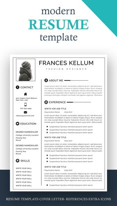 Modern Resume Template, Creative Resume Templates, Cv Template, Resume Cv, Resume Writing, Job Cv, Cv Tips, One Page Resume, Creative Jobs