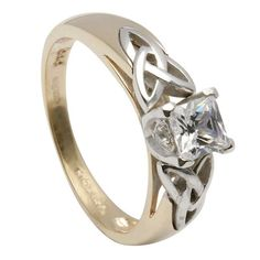 14K Celtic Knot Diamond Engagement Ring