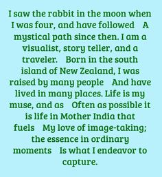 I saw the rabbit in the moon when I was...
