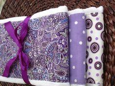 Burp Cloths - Set of Three - Purple Passion on Etsy, $12.00