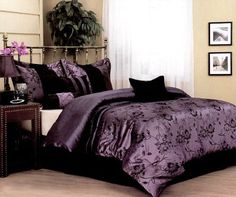 Nanshing Harmonee 7-Piece Jacquard Comforter Set, King by Nanshing. $66.98. Jacquard floral. Purple with black jacquard floral. 100-Percent polyester fiber fill. Made in China. King comforter measures 101 by 86-inch. Nanshing Harmonee Queen 7-piece Jacquard Comforter Set is an elegant luxury set. A classic all over black floral jacquard on a purple faux silk ground. Mixed in as an accent is a pleated satin and a solid black. The set includes a comforter, two pillow shams, ...
