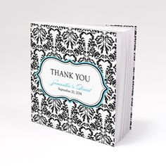 Notepad Favor with Personalized Love Bird Damask Cover