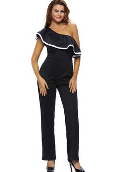 5d081353477 Black One Shoulder Ruffle Decor Sexy Jumpsuit. Rompers WomenJumpsuits ...