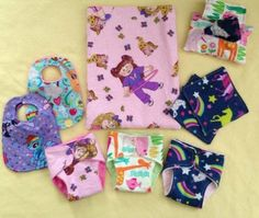 Custom Doll Sets, Choose Your Fabrics. Diapers,  bibs,  wipes,  a case, and a wetbag, for your little ones' pretend play. How fun!