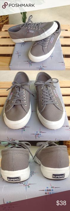 🎉💖GRAY CANVAS SNEAKERS💖🎉🎉 Style just like KEDS. Sz.9. Brand New Cond. worn just out to street so bottoms have been scrubbed clean. Not a spot on them. SUPERGA LOGO, the shoe of Italy. These speak for themselves. Great sneakers❣❣❣They definitely make a statement 😍😍 SUPERGA Shoes Sneakers