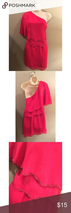 NWT Magenta beaded mini dress I purchased this dress for Vegas but I never wore it because it didn't fit. It is so beautiful with gold beading along the bottom. It is a mini dress and shows off your curves. It's in perfect condition. Rampage Dresses One Shoulder