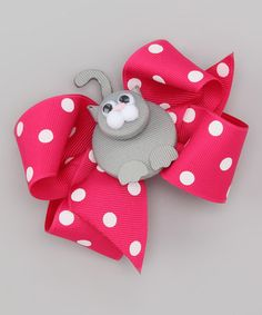 Take a look at this Shocking Pink & Gray Cat Bow Clip by Picture Perfect Hair Bows on #zulily today!