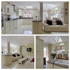 Open plan kitchen, dining room & family room.   Used extra large floor tiles to make the space seem more spacious & to reflect light throughout.