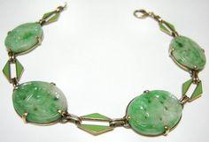 14k Art Deco CARVED and Pierced JADE and ENAMEL Bracelet