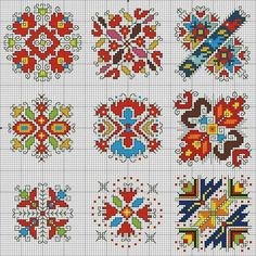 Biscornu Cross Stitch, Tiny Cross Stitch, Cross Stitch Borders, Cross Stitch Flowers, Cross Stitch Designs, Cross Stitching, Hand Embroidery Flowers, Folk Embroidery, Cross Stitch Embroidery