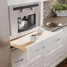 Like this idea for a little extra counter space to fix your morning coffee.