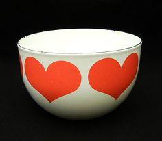Rare Vtg Arabia Finland Kaj Franck Finel Heart Enamel Bowl Catherine Holm Era | eBay
