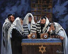 a Minyan 16 x 20 16 x 20 Giclee Museum wrapped canvas print SKU 0010 Jewish History, Jewish Art, Scripture Art, Bible Art, Hindus, Arte Judaica, Pictures Of Jesus Christ, Biblical Hebrew, Celebration Around The World