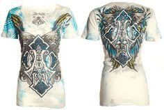 Archaic AFFLICTION Womens T-Shirt BIRD CAGE Cross Tattoo Biker Sinful S-XL $38 b | Clothing, Shoes & Accessories, Women's Clothing, T-Shirts | eBay!
