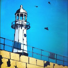 Looking up at Smeaton's Pier Lighthouse, St Ives, Cornwall. St Ives Cornwall, Lighthouse Art, Ski Lift, Painting Tutorials, Lighthouses, Sketching, Paintings, Artists, Sea