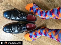 #Repost @madsbonhell  THE SOCKS ARE BACK! It's back to work today it's pouring down outside... but I have new socks the sock game is still on.  #BallonetSocks #london and @grensonshoes @grensongirlsofficial #psychiatristsocks #sheffield #ballonet #socks #sockgame #socksofinstagram #hipster #sockoftheday #chausettes #grenson #bluebrogues #blueshoes #sockswagg #swag #sockgamestrong