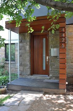 Modern Porch Portico Design Ideas, Pictures, Remodel, and Decor. Cedar front door and porch ceiling. Modern Porch, Modern Front Door, House With Porch, Front Porch Design, Modern Mailbox, Modern Front Porches, Portico Design, House Front, House Exterior