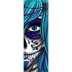 Green Eyes, Day of the Dead Art by Melody Smith ❤ liked on Polyvore featuring home, home decor, wall art, green wall art and green home decor
