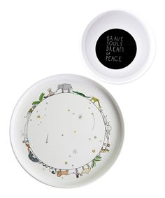 Take a look at this smiling planet White Circle of Life Plate & Brave Souls Bowl on zulily today!