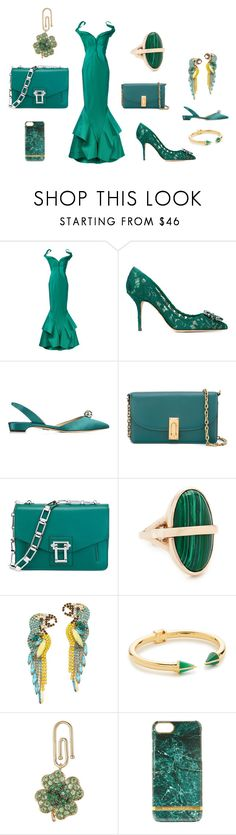 """""""Simple && perfect style with green..."""" by jamuna-kaalla ❤ liked on Polyvore featuring Zac Posen, Dolce&Gabbana, Paul Andrew, Marc Jacobs, Proenza Schouler, Pamela Love, Elizabeth Cole, Vita Fede, Aurélie Bidermann and vintage"""