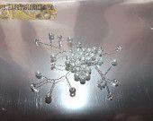 fermagli fermacapelli sposa ramoscelli di roselline perle bianche e cristalli filo placcato argento