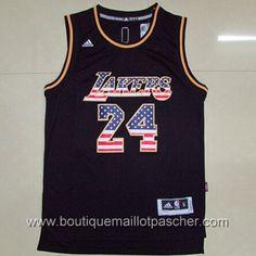 maillot nba pas cher Flag Edition Los Angeles Lakers Bryant #24 noir nouveaux tissu 22,99€
