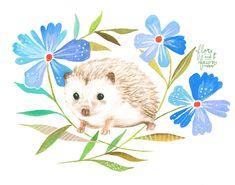 Hedgehog Art Print | Watercolor Painting | Nursery | Woodland Animal | Floral | 8x10 | 11x14