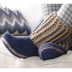 Mary Maxim - Free Slipper Socks Pattern - Free Patterns - Patterns & Books