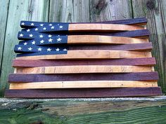 ***Marked down 20% until 3/16/16*** A flag so so patriotic, Bald Eagles cry when they look at it. Thats why all our wine stave flags are constructed