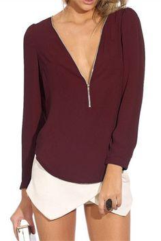 burgundy top