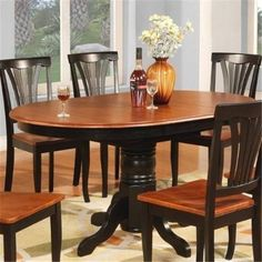 Wooden Imports Furniture AVON11-T-Bl&ch Avon Oval Table With 18 in. Butterfly leaf - Black and Cherry Finish., As Shown