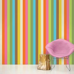 Buy your French Bull Izzy Multi Removable Wallpaper by Wallcandy Arts here. Who knew putting up wallpaper could be so easy? These modern wallpaper designs by WallCandy Arts are reusable and mess fre Striped Wallpaper, Kids Wallpaper, Vinyl Wallpaper, Peel And Stick Wallpaper, Wallpaper Awesome, Contemporary Wallpaper, Contemporary Wall Art, Basement Paint Colors, Modern Kids